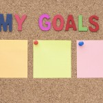 Words my goals and target notepad with copy space background, smart goal and success concept for business